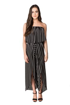 Striped Strapless Jumpsuit with Split Leg