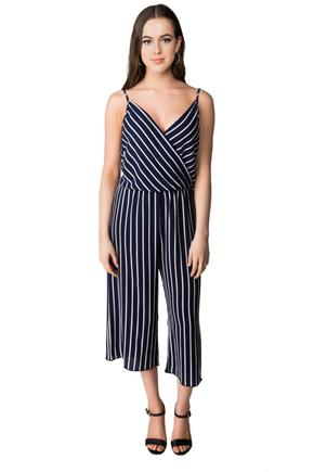 Striped Crossover Spaghetti Strap Jumpsuit