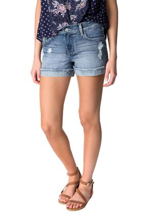 Celebrity Pink Distressed Wash Mid-Rise Short with Frayed Cuffed Hem