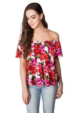 Bright Floral Short Sleeve Off-the-Shoulder Top