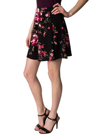 Floral Skater Skirt with Narrow Band