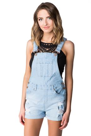 YMI Light Wash Distressed Shortalls