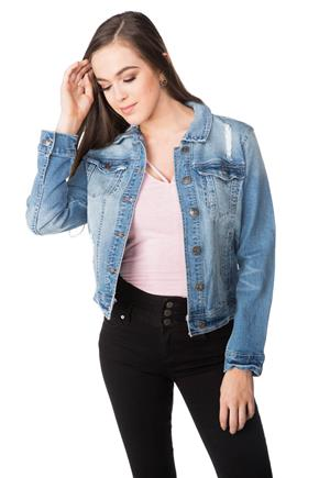 WallFlower Fern Wash Ripped Jean Jacket