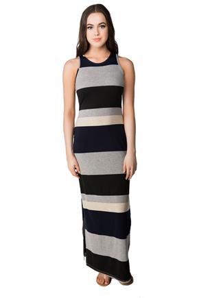 Variegated Stripe Maxi Dress with Side Slits