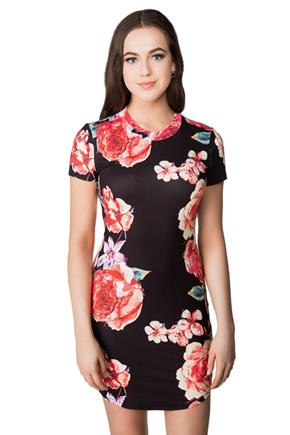Bright Floral Short Sleeve Bodycon Dress with Shirttail Hem