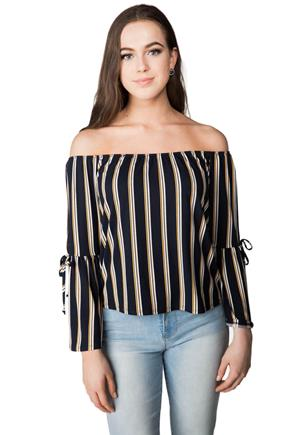 Striped Off-the-Shoulder Slashed Bell Sleeve Top