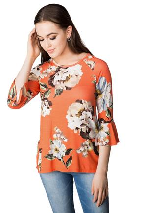 Floral Tunic with Bell Sleeves and Split Back
