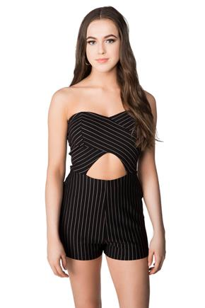 Pinstripe Strapless Romper with Cut-out Detail