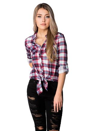 Plaid Shirt with Roll-up Sleeves and Tie Front