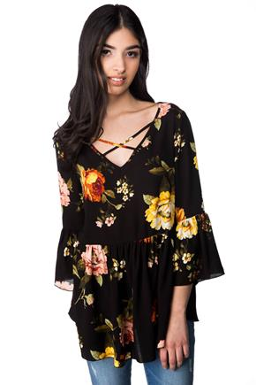 Floral Babydoll Top with Crisscross V-neck and Bell Sleeves