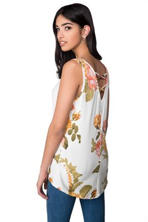 Floral Swing Tank with Criss Cross Back