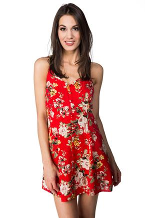Floral Spaghetti Strap Dress with Covered Buttons
