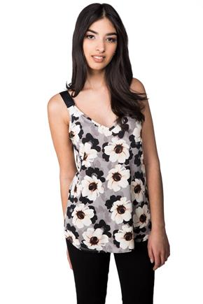 Floral Tank with Ribbon Straps and Double V-neck