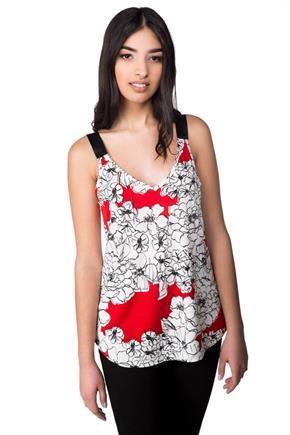 Floral Tank with Double V-neck and Ribbon Straps