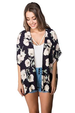 Floral Print Kimono with Short Sleeves