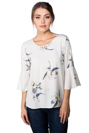 Floral Bell Sleeve Blouse with Tie Back