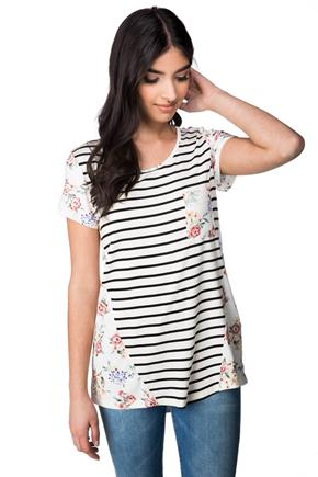 Striped and Floral Pocket Tee