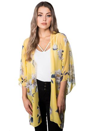 Floral Kimono with 3/4 Length Sleeves