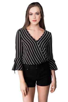 Striped Blouse with Surplice Neckline and Bell Sleeves