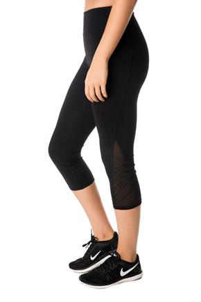 Tattoo Athletics Capri with Criss Cross Details and Mesh Inserts