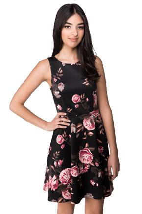 Skater Dress with Floral Pattern and Back Zipper