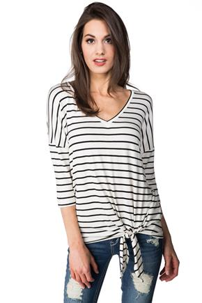 Striped Shirt with 3/4 Length Sleeves and Side Tie