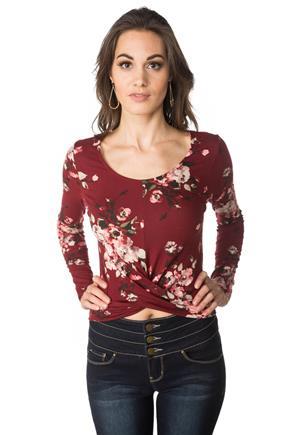 Floral Crop Top with Long Sleeves and Twisted Hem