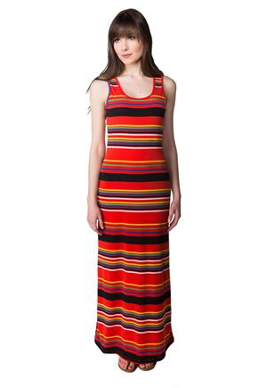 Striped Sleeveless Maxi Dress with Criss Cross Back