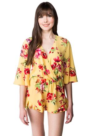Crossover Floral Romper with 3/4 length Sleeves and Ruffle Shorts