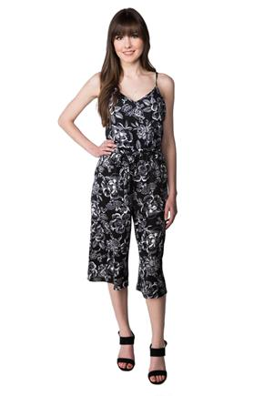 Floral Jumpsuit with Tie Belt and Pockets