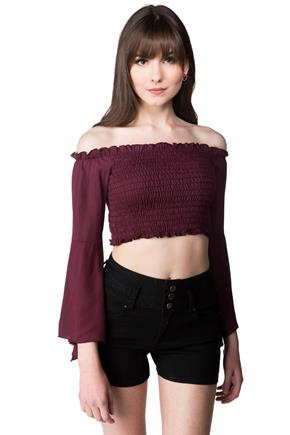 Off-the Shoulder Smocked Crop Top with Bell Sleeves