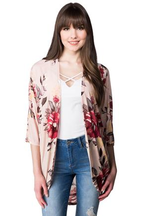 Floral Cocoon Cardigan with 3/4 Sleeves