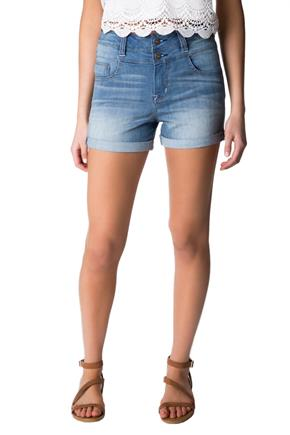 WallFlower Light Wash Insta-Soft High-Rise Short with Rolled Cuff