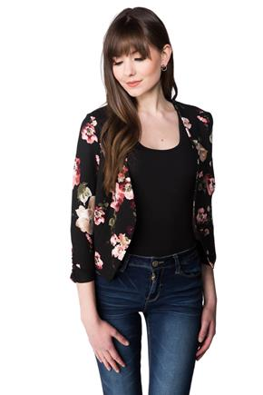 Cropped Floral Open Blazer