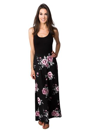 Floral Skirt Maxi Dress with Crossover Back