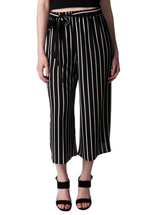 Striped Wide Leg Capri with Tie Belt