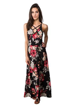 Floral Maxi Dress with Criss Cross V-neck
