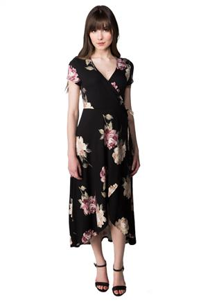 Rose Print Short Sleeve Wrap Maxi Dress