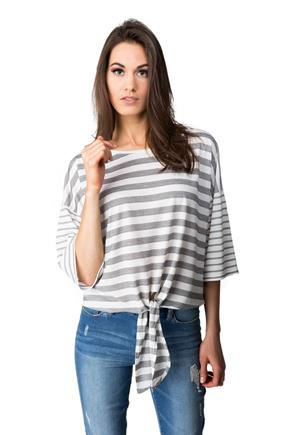 Striped Top with Tie Hem