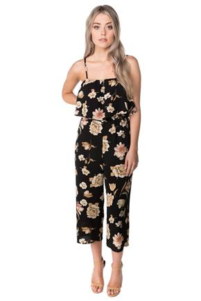 Floral Jumpsuit with Spaghetti Straps and Flounce