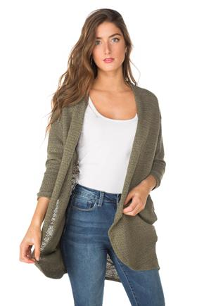 Textured 3/4 Sleeve Cardigan