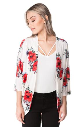 Floral 3/4 Sleeve Open Cardigan