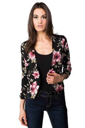 Cropped Floral Open Blazer with 3/4 Sleeves