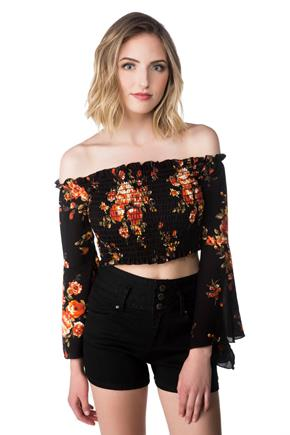 Off-the Shoulder Smocked Floral Crop Top with Bell Sleeves