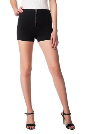 High-Rise Short with Zipper Front