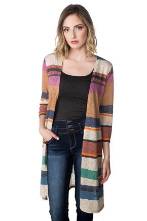 Striped Duster with Side Slits