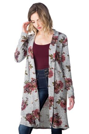 Open Floral Duster with Long Sleeves