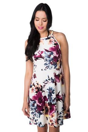 High Neck Floral Skater Dress with Keyhole Back