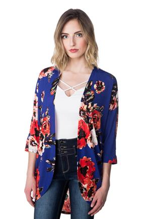 Floral Open Cardigan with 3/4 Sleeves