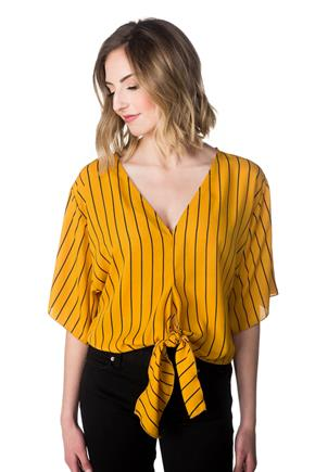 Striped Dolman Top with Tie Front